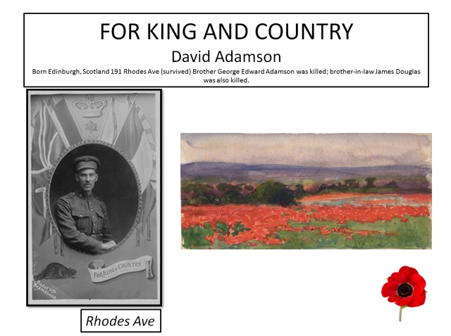 Photo unknown of David Adamson. Families would pay an enormous price, but they didn't know this yet in 1914. A Poppy Field, France Painted by Vivian Cummings around 1918 Canadian War Museum 20110004-024