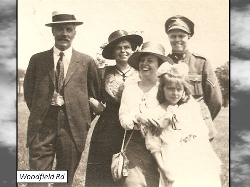 Reid family, (Morley Ave. now Woodfield Road). Percy Reid in back, in Canadian army uniform. Though older men did enlist, this army was by and large made up of young men, teenagers and men in their early twenties.