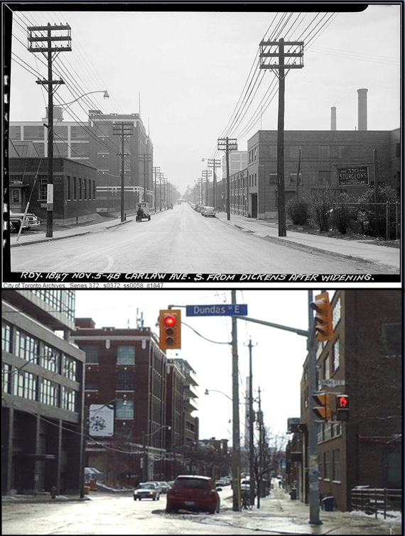 Carlaw Ave Then and Now: Looking south from Dundas Street.