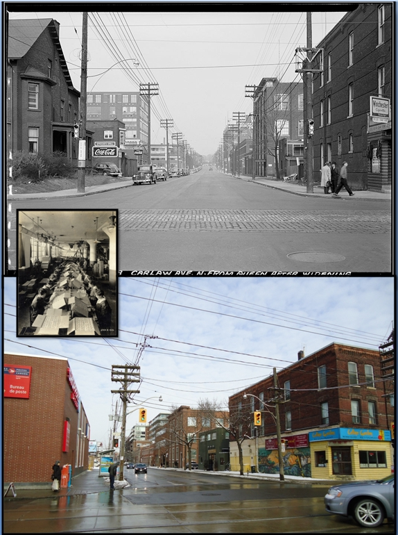 Carlaw look north on Queen Then and Now. Women packing soap into crates at Colgate-Palmolive.