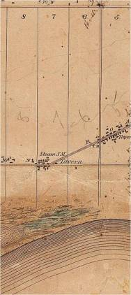 An 1851 map with the log numbers. The east-west street is Queen St. (Kingston Rd in 1851). Kingston Road turns north just east of Coxwell. A small settlement is at the corner of Coxwell and Queen clustered around a steam saw mill, a tavern and a tollgate. The north south street between Lot 8 and 7 will become Coxwell Avenue. A larger village is clustered around Woodbine and Kingston Road. It was called the Village of Norway for the Norway or Red Pine that grew there so abundantly.