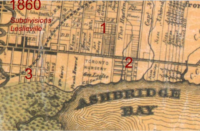 1860 Tremaine's map showing Leslieville's first subdivisions.