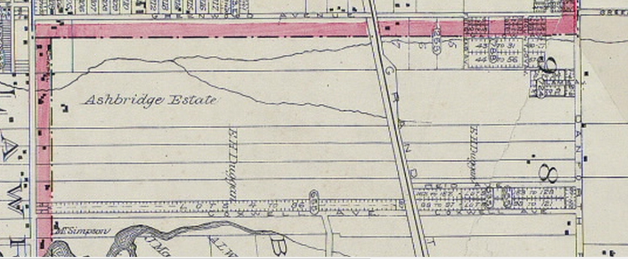 1893 Goad's Atlas map shwoing the farm boundaries.