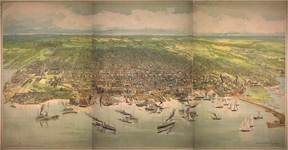 A bird's eye view of Toronto. Lithograph, 1893.