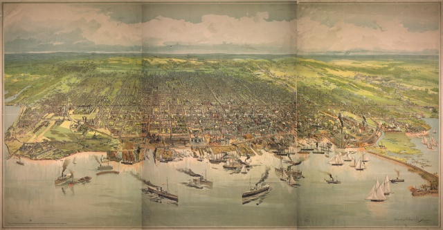 A bird's eye view of Toronto. Lithograph, 1893.