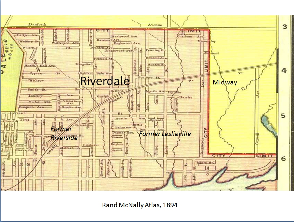 1894 Map showing the 1884 City of Toronto annexations in the East End. The area in yellow is still in the Town of York and could not be systematically developed for housing until it was part of the City of Toronto because there were no water mains, sewers, fire or police services.