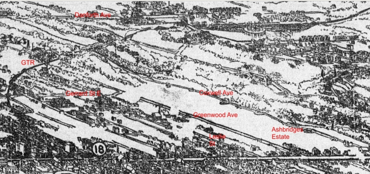 1899 Bird's eye view with labels added.