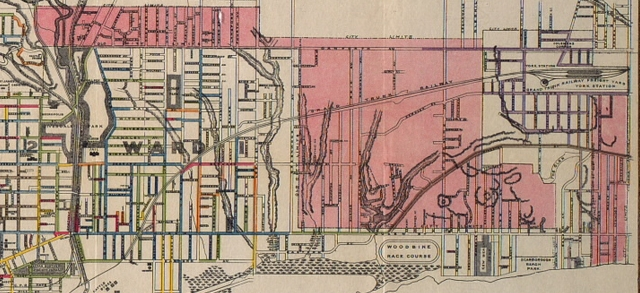 In 1909, after a referendum, the City of Toronto annexed the areas marked with pink.