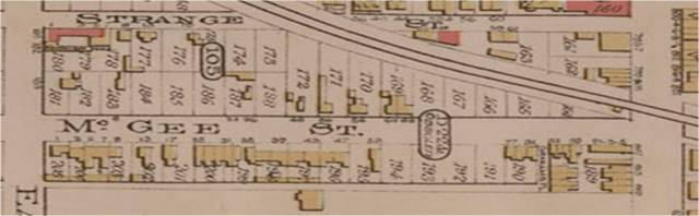 Goad's Atlas, Plate 47, 1903 Close Up showing street numbers. 26 McGee is a wooden building with a barn or outbuilding at the back. (Brick buildings are pink, wooden buildings are brown.)