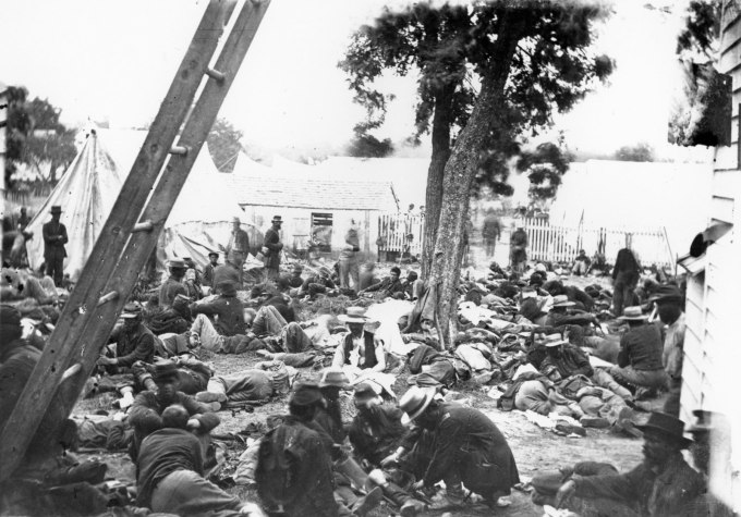 A Civil War field hospital.