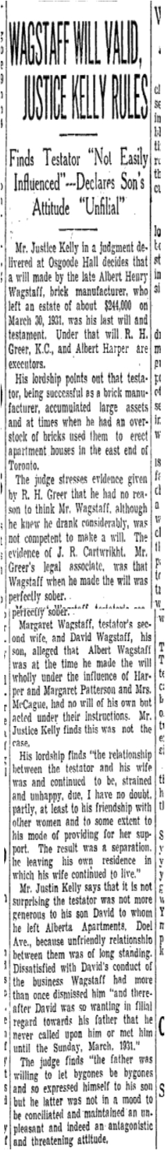 Justice Kelly very likely knew of Wagstaff's reputation even if he may not have known him personally. Toronto Star, November 12, 1932