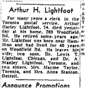 Arthur Lightfoot obit Globe and Mail Dec 11 1953