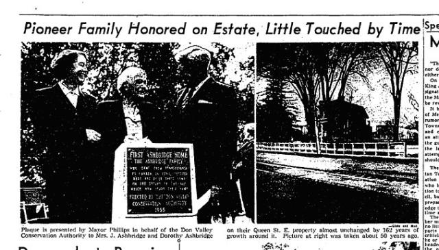 Ashbridge plaque