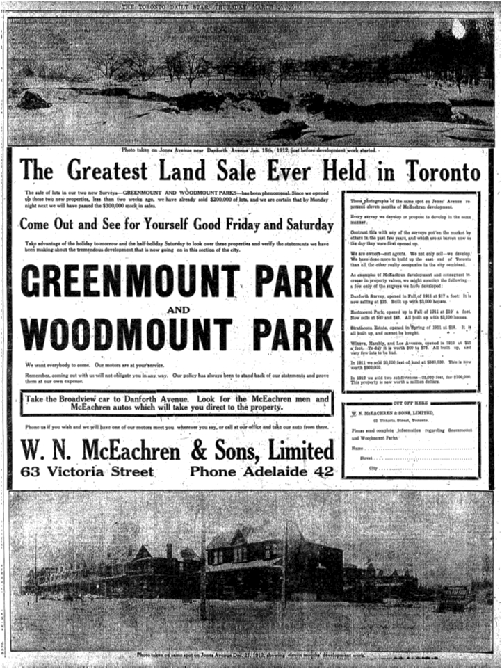 The top photo shows the orchard and Ravina Creek, a branch of Hastings Creek. Toronto Star, March 30, 1913