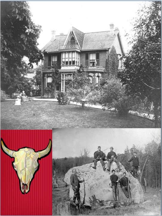 """The Blong House which stood on the south side of Queen Street between Logan and Empire. Some of the Blong ladies in their front yard and some of the young butchers of the neighbourhood on a hunting trip """"up north""""."""