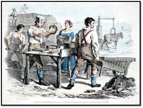 "Brickmaking, Somerset, England. Probably from around 1850. The moulder is at the moulding talbe, the woman is the clot moulder. The man on the right is wheeling a specialized barrow called a ""hake"" full of newly moulded brings to the drying yard. The young lad on the left is bringing clay to the clot moulder. In the background, a horse is walking around and around turning the pug mill that is mixing the clay to prepare it for moulding. Many brick making families came from Bridgwater, Somerset, to work for the Prices. Some family names include Billings, Manchip, Dibble, but there are many more."