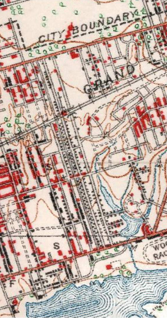 1923 Dominion of Canada topographical map. The neighbourhood west of Coxwell is beginning to look more like that of today. East of Coxwell is not yet build up yet although real estate agents were trying! The big open area between Grenwood and Woodfield Road south of Gerrard will, in1925, become the Ulster Stadium.