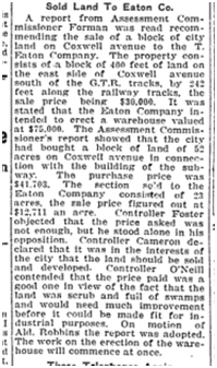 City Sold Land to Eaton Toronto Star Sept. 25, 1917 Co.