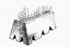 "A clamp kiln made of bricks. The steam coming off the top was called ""water smoke"". The triangular openings in the bottom were where firewood was fed into the kiln. A small cone of clay was put into one or more of these openings. The brickmaker could tell by the colour of the cone whether or not the bricks inside the clamp were ready. From Edward Dobson, A Rudimentary Treatise on the Manufacture of Brick and Tile, London: Crosby Lockwood and Son, first printed 1850, 10th edition, 1899."