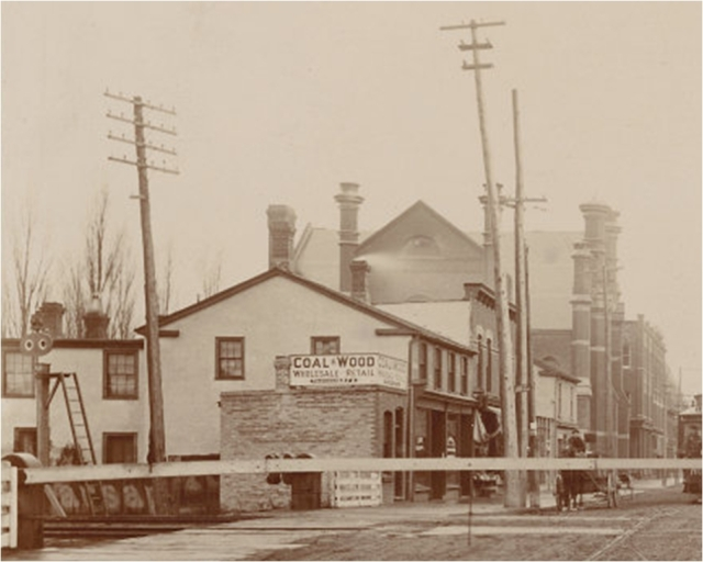 Close up showing the location of Leslie & Co. furniture store.
