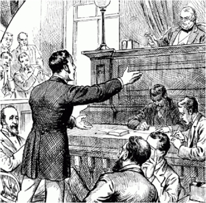 19th century illustration of jury trial. Source unknown. Public domain.