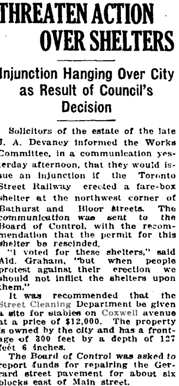 The City of Toronto decided to build a stables for the Street Cleaning Dept. City Architect W. W. Pearse probably began drawing up plans that year in anticipation of building in 1919. Globe, Sept. 18, 1918