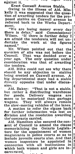 The City moved to award tenders to build Coxwell Stables. Toronto Star, Feb. 24, 1920