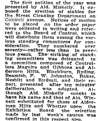 The first item of business for City Countil in 1920 was a petition from the neighourhood. They wanted the City Stables projected stopped. Globe, Jan. 13, 1920