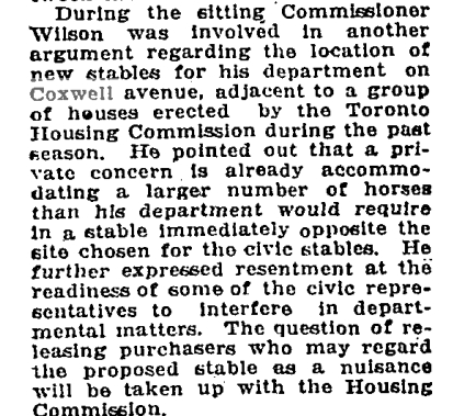 City Street Commissioner Wilson was beside himself. The City Architect, W. W. Pearse, who is usually given credit for the Coxwell Stables, was by this point very ill and the acting City Architect G. F. W. Price took over the project's design and saw it through to completion. Globe, Jan. 23, 1920