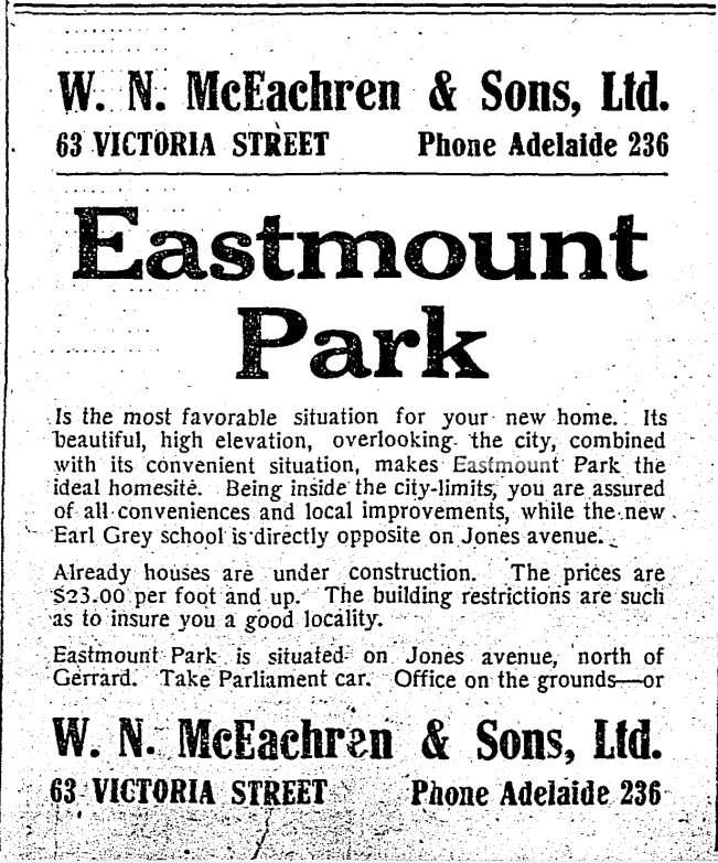 Eastmount Ad. Toronto Star, July 6, 1911