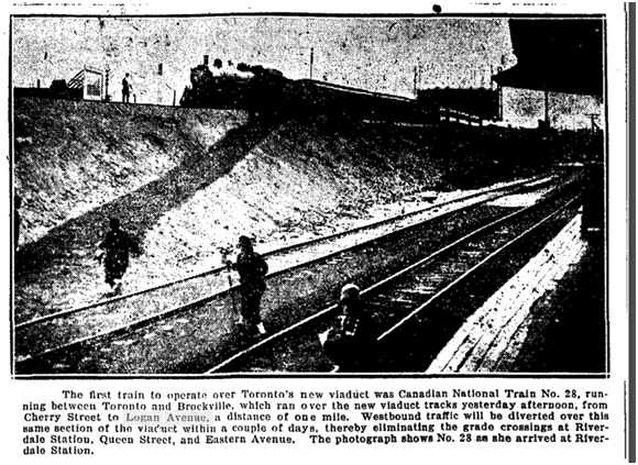 First Train on the new Toronto Viaduct 1927 Globe Sept 24 1927
