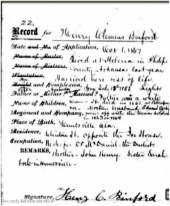 Freedman's Bank Record for Henry Claxton (Clemens) Binford