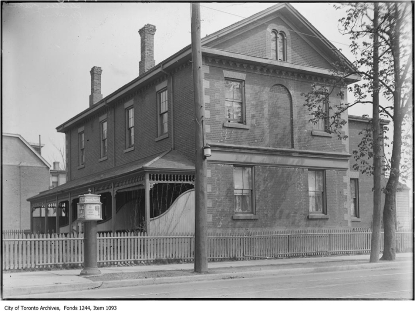 In 1859, George Leslie moved his residence from his frame house to a much bigger new brick house at Jones Avenue and Queen Street. At north east corner of Jones and Queen Street East, where the Leslieville mural is on the wall.