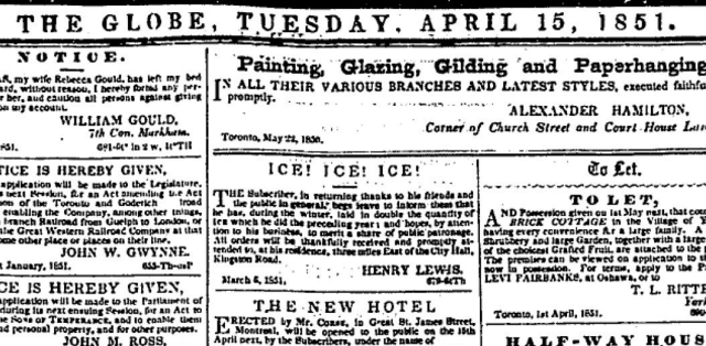 Globe 1851 ad for Henry Lewis Ice dealer