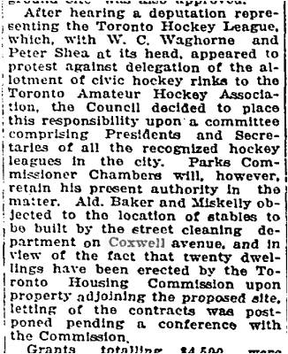 The residents were putting pressure on Ald. Miskelly and Ald. Baker. Toronto Housing was also building new homes north of the tracks in a new subdivision east of Coxwell. Who knew that those streets began as subsidized housing? Globe, Dec. 16, 1919
