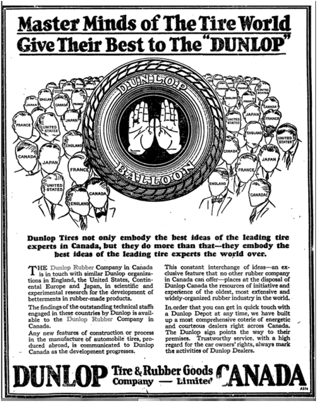 British-owned Dunlop Rubber was a true multinational. Globe, Nov. 6, 1926