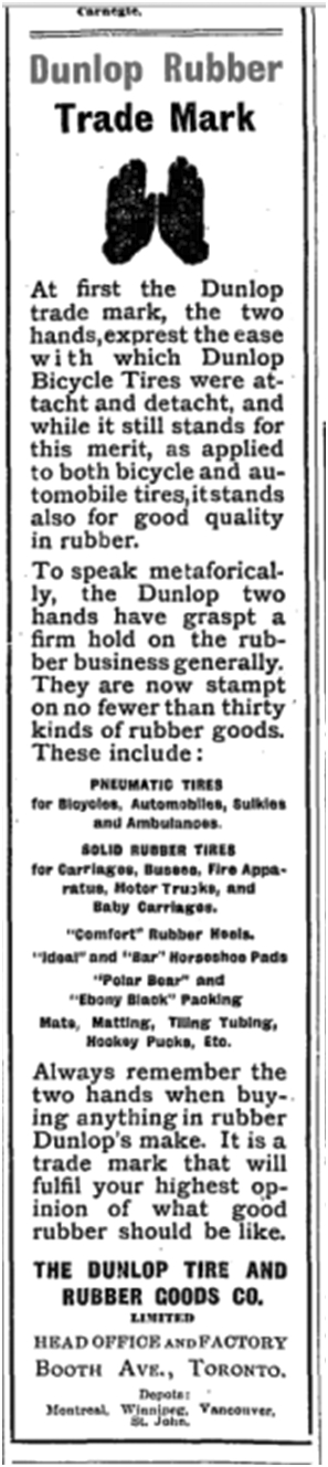 An explanation of Dunlop's two hand logo. The peculiar spelling was an attempt to introduce a new way of spelling that did not succeed in capturing the public's support. Teachers and grammarians hated it. Globe Sept 22 1906