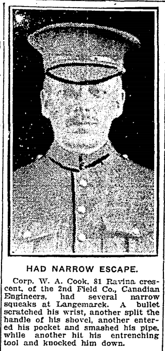 Canadian troops first saw action in the trenches in the spring of 1915. Few would be as lucky as this soldier who continued to have angels on his shoulder and survived to come back to Canada in 1919. Toronto Star, May 19 1915
