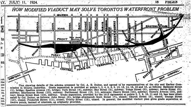 Map showing revised Viaduct toure that was suggested, Globe, July 11, 1924