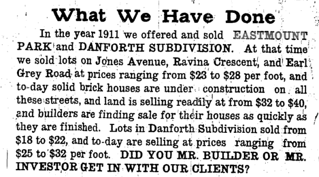 McEachern boasted of their success in developing the fringes of Toronto's East End. Toronto Star, April 26, 1912