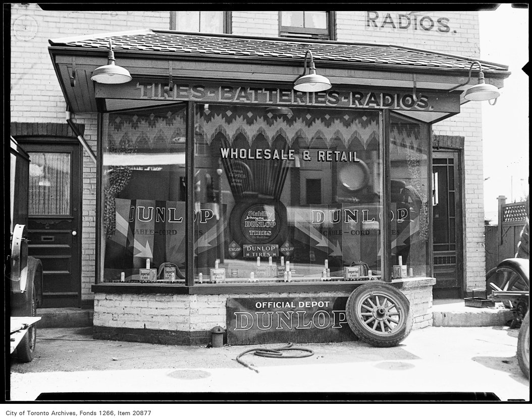 CMenzie Tire Company, Bloor West, Dunlop Tire window June 25, 1930 City of Toronto Archives
