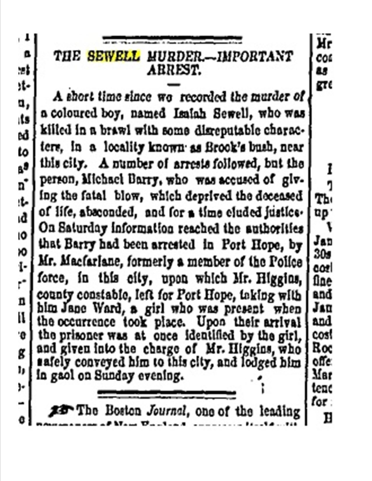 Murder Isaiah Sewell July 29 1856