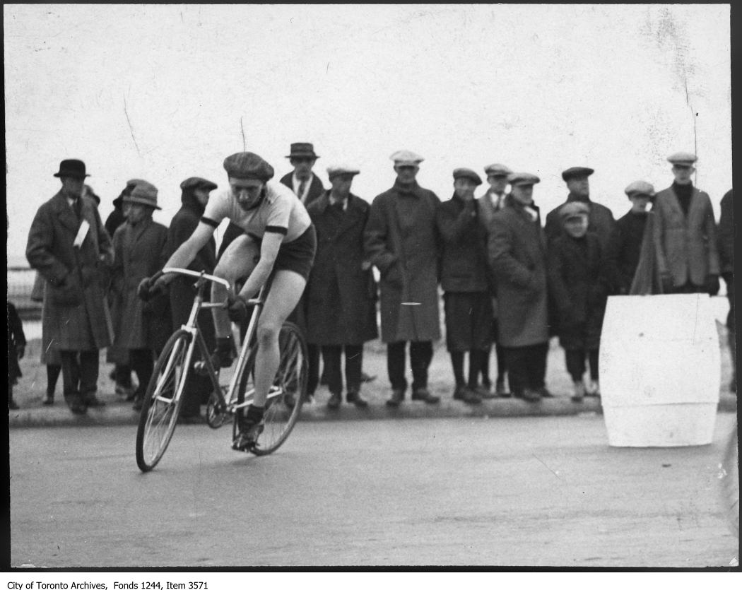 Norm James in Dunlop Trophy bicycle race between 1925 and 1926 City of Toronto Archives