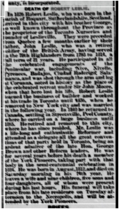 Obituary, Robert Leslie, Globe, Jan. 4 1886