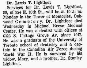 Obituary Lewis Taylor Lightfoot Chicago Tribune 26 Jul 1975