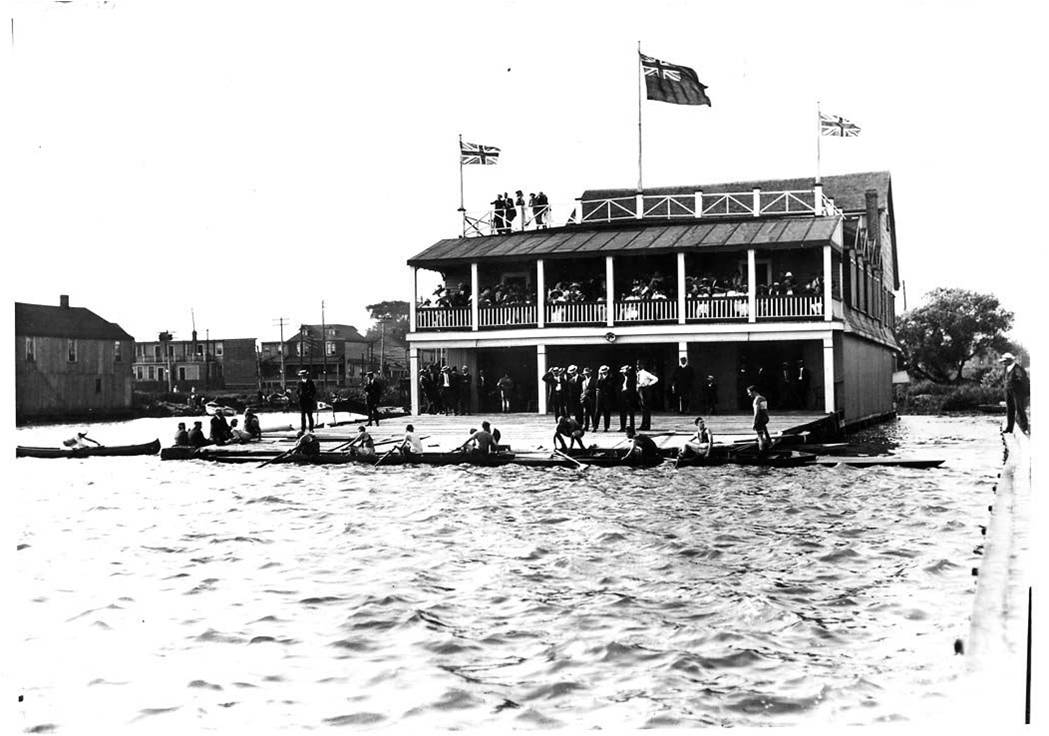 The Don Rowing Club at the foot of Woodfield Road at Eastern Avenue in 1912, courtesy of the Don Rowing Club.