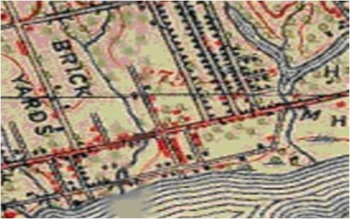 1907 Dominion of Canada topographical map. Coxwell Avenue is beginning to fill in with houses and Rhodes Avenue is built up too. Erie Terrace has houses on the one side.