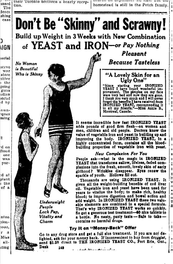 Thin, but not too thin. Toronto Star, April 27, 1927