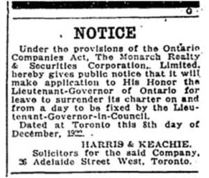 Toronto Star, Dec. 8, 1922