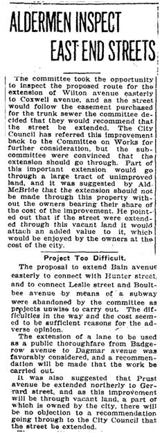 Toronto Star, Sept. 20, 1913 Committee of Council inspects Hunter Street . This article has been cropped to edit out paragraphs that do not deal with the East End.